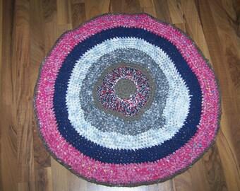 Handmade Rag Rug Crocheted Rug / Rag Rug. Shabby Vintage Decor Handmade  100% reclaimed / recycled materials. Eco Friendly Rug crocheted NEW