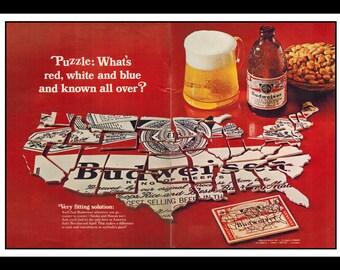 "Vintage Print Ad October 1968 : Bud Budweiser Beer US Map Wall Art Decor 16"" x 11"" Advertisement"