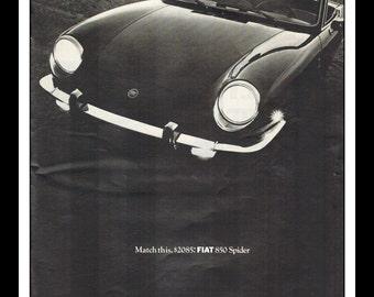 "Vintage Print Ad November 1968 : Fiat 850 Spider Car Automobile Wall Art Decor 8.5"" x 11"" Advertisement"
