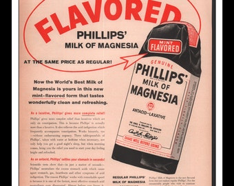 "Vintage Print Ad May 1957 : Phillips' Milk Of Magnesia Antacid Wall Art Decor 10.25"" x 13.75"" Advertisement"