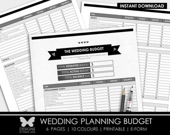 Printable Wedding Budget, Printable Wedding Planning Budget, Wedding Budget, Budget, Wedding, Wedding Planning