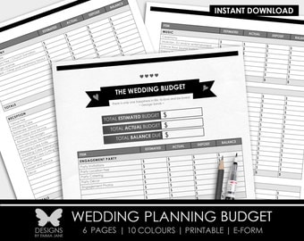 Printable Wedding Budget, Wedding Planner, Printable Wedding Planning Budget, Wedding Budget, Printable Wedding Planner