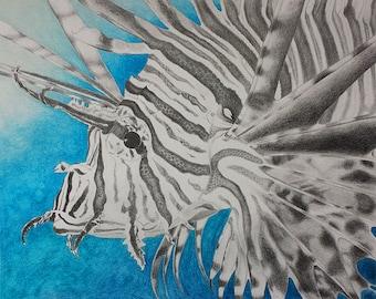 "8.5 x 11"" Lustre Fine Art Print of Original Illustration - ""Lionfish"""