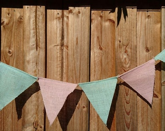 Pink and Blue Burlap Bunting Banner.  Hessian Bunting.  Burlap Flag Banner. Baby Bunting. Easter Bunting