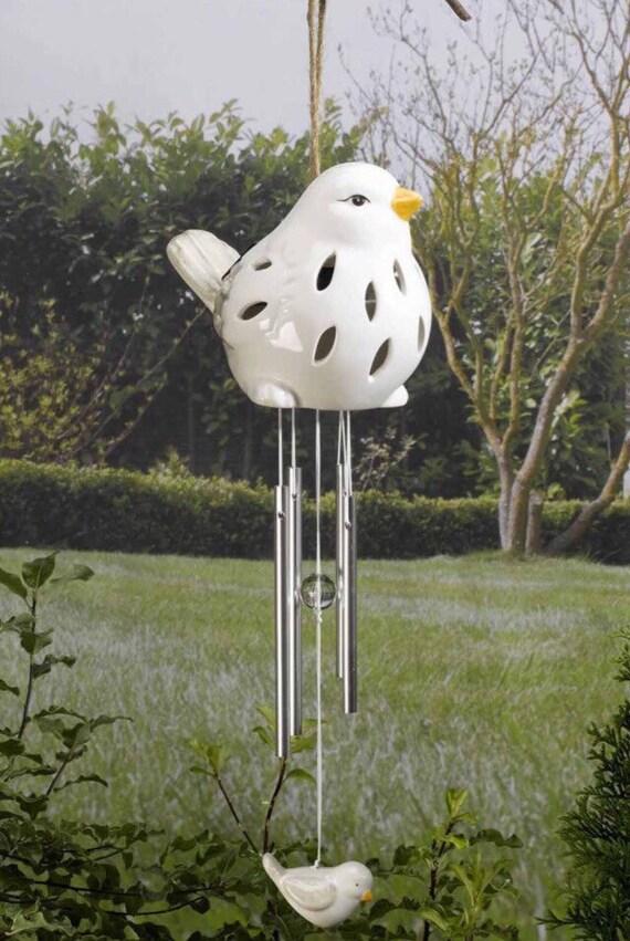 Ceramic Bird Wind Chime Light In White Solar