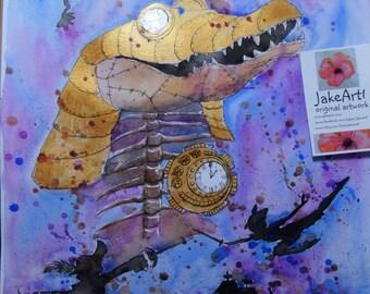 Steampunk Peter Pan Steampunk Crocodile original artwork Fantasy art Steampunk artwork