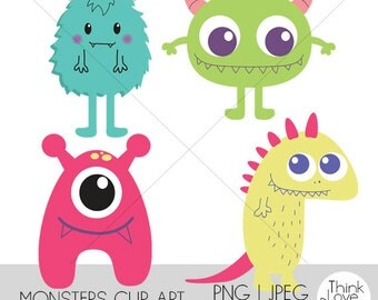 Instant Download - Cute Monster Clip Art Set - Vector, monsters, cute, colorful, digital files for personal and commercial use