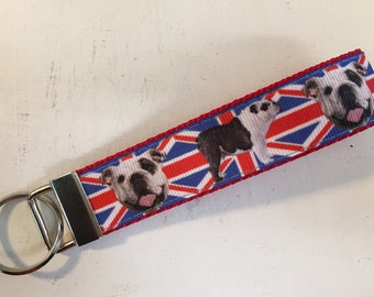 English Bulldog Key Fob - Animal Lover Gifts - Union Jack Bulldog - Bulldog Gift - Dog Lover Gift