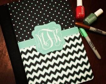 Design Your Own Portfolio Notebook with Monogram.  Chevron, Polka Dots, etc.