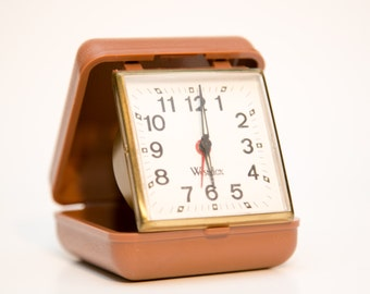 Vintage Westclox Wind Up Alarm Clock with Travel Case