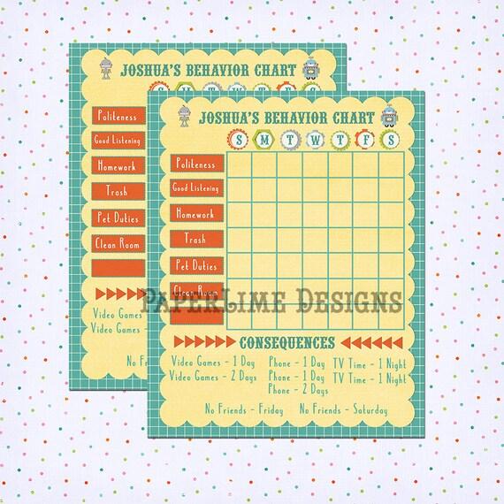Chore Chart Behavior Chart Kids Chore Chart By