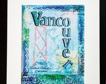 60% off Canadian Art Prints - Vancouver BC - Canadian Art - Matted Print