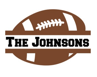 Custom Split Football Name Decal, Personalized Football Vinyl Decal with Family or Team name, Family Football Vinyl Car Decal