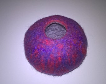 Handmade wet felted vessel