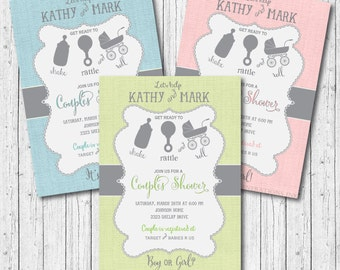 """Couples Baby Shower Invitation . . """"Shake, Rattle & Roll"""" / DIGITAL FILE / wording can be added or changed"""
