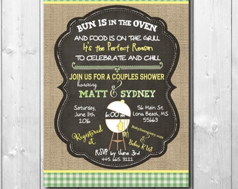 Couples Baby Shower Invitation / digital file or printing / wording and colors can be changed