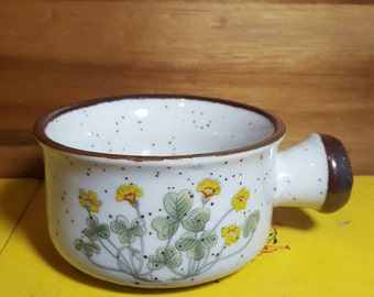 Vintage Speckled Stoneware Soup Mug or Crock featuring Yellow Flowers