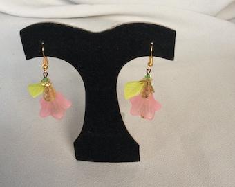 Earrings Pink Flowers w/ green leaves  Handcrafte