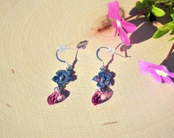Sterling Silver flower / Swarovski Crystal Rose / Teardrop / Dangle Earring