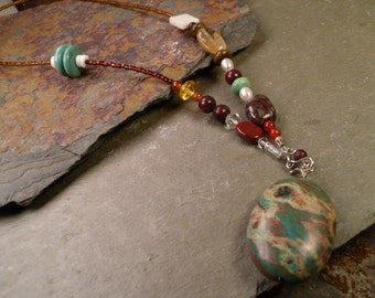 Front Hook Gemstone Necklace with Carnelian, Turquoise, Amber, Tiger Eye, MOP ~ Unique Beaded Handmade Gift for Teens Gift for Her