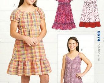 Kwik Sew sewing pattern K3674 Girls' Dresses, 2 Styles, Summer Dresses - new and uncut