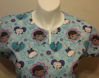 Fast Shipping Doc mcstuffins scrub top  xs to xl with  4 different neck design made to order 100% Cotton