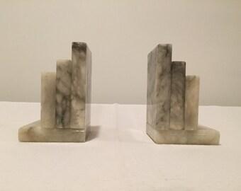Vintage Carrara Marble Bookends