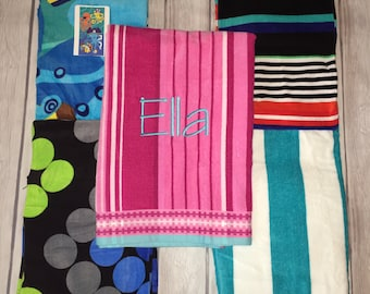 SALE!! Monogrammed Beach Towels!!! Custom design with your name or initials! 7 patterns! For men, women, and children!