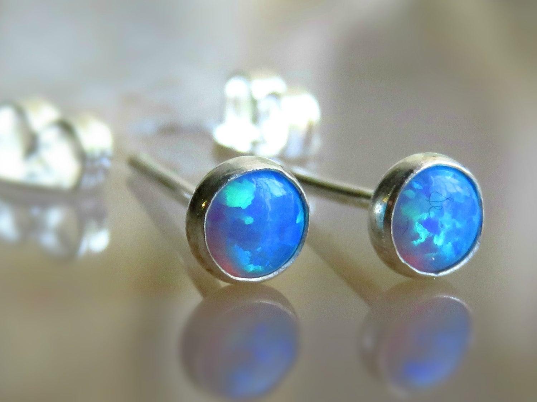 sky blue opal stud earrings blue opal post earrings blue. Black Bedroom Furniture Sets. Home Design Ideas