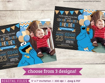 Cookie Monster Invitation. Cookie Monster Birthday. Cookie Monster Party. Elmo Invitation. Sesame Street Invitation. Photo Invitation.