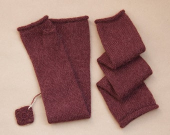 Hand-knitted mittens, Color Red grape, 100% alpaca wool, Long mittens, One Size