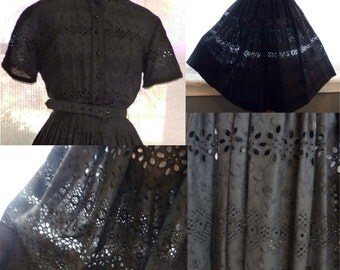Charming black cotton eyelet dress, shirtwaist with full skirt