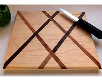 Handmade All-Natural Wood Cutting Board, Salvaged Maple, Black Walnut, Mahogany, Kitchen, Cheeseboard, wedding, Anniversary MADE TO ORDER