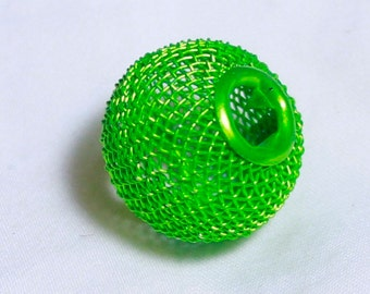 20* 20mm Lime Green Wire Mesh Beads Basketball Wives Large hole fits bracelet