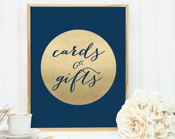 Cards And Gifts Sign DIY / Wedding Gift / Navy and Gold Wedding Sign / Metallic Gold Sparkle Circle / Champagne Gold ▷ Instant Download JPEG