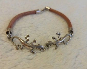 Sterling silver and genuine leather braclet