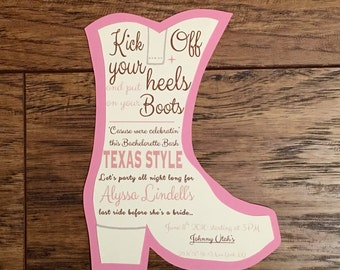 Self Print Texas Style Bachelorette Party Invitations