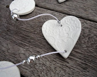 Clay embossed Heart Garland