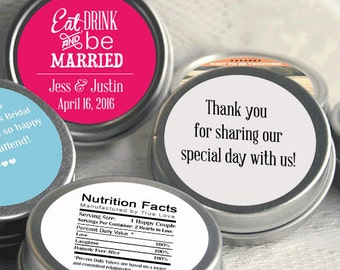 12 Personalized Mint Favor, Eat Drink and Be Married Wedding Favor, Personalized Wedding Mint Tins, Eat Drink and Be married - Set of 12