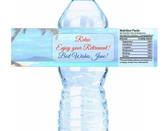 """Island Beach Themed Retirement Water Bottle Labels - Select the quantity you need below in the """"Pricing & Quantity"""" option tab"""