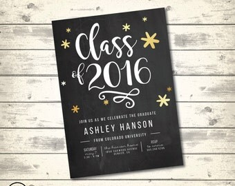 Chalkboard Gold and White Graduation Invitation, Gold Stars Graduation Party, Black and White Graduation Announcement, Digital Printable