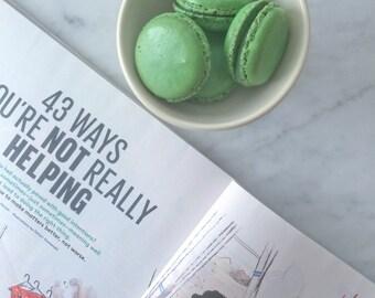 12 Pistachio French Macaron Cookies - 1 dozen