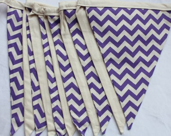 Bunting flags hanging decor party classroom home birthday handmade by Smitten Kitten. Purple and beige chevron