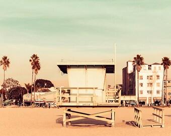 Venice Beach Sunset Print, California Wall Art, Lifeguard Tower, Los Angeles Photography, Venice Photography, Mint Green, Orange, Gold Decor