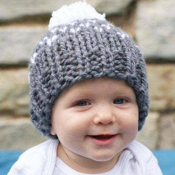 Baby Girl Knit Fair Isle Hat Newborn Pom Pom Hat Knitted