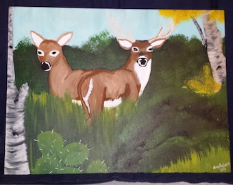 12x16 deer in the forest