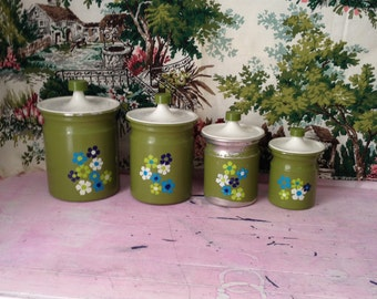 1970's Olive Green Canisters. Folk Art Flowered Painted Canister Set 70's Olive Green Flower Power Metal Canister Set Painted