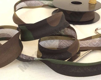 "3 meters ( 3,27 yds) printed cotton camouflage 1"" bias tape edging repair softair"