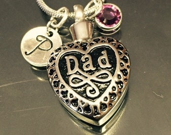 "Cremation Jewelry ""dad "" Pendant Keepsake Urn Necklace with FREE 20"" Chain & Fill Kit Choose Initial and Birthstone"