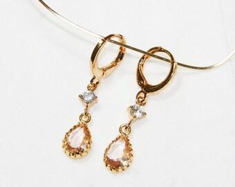 Lisa Peach Drop earrings, crystal 24kGF